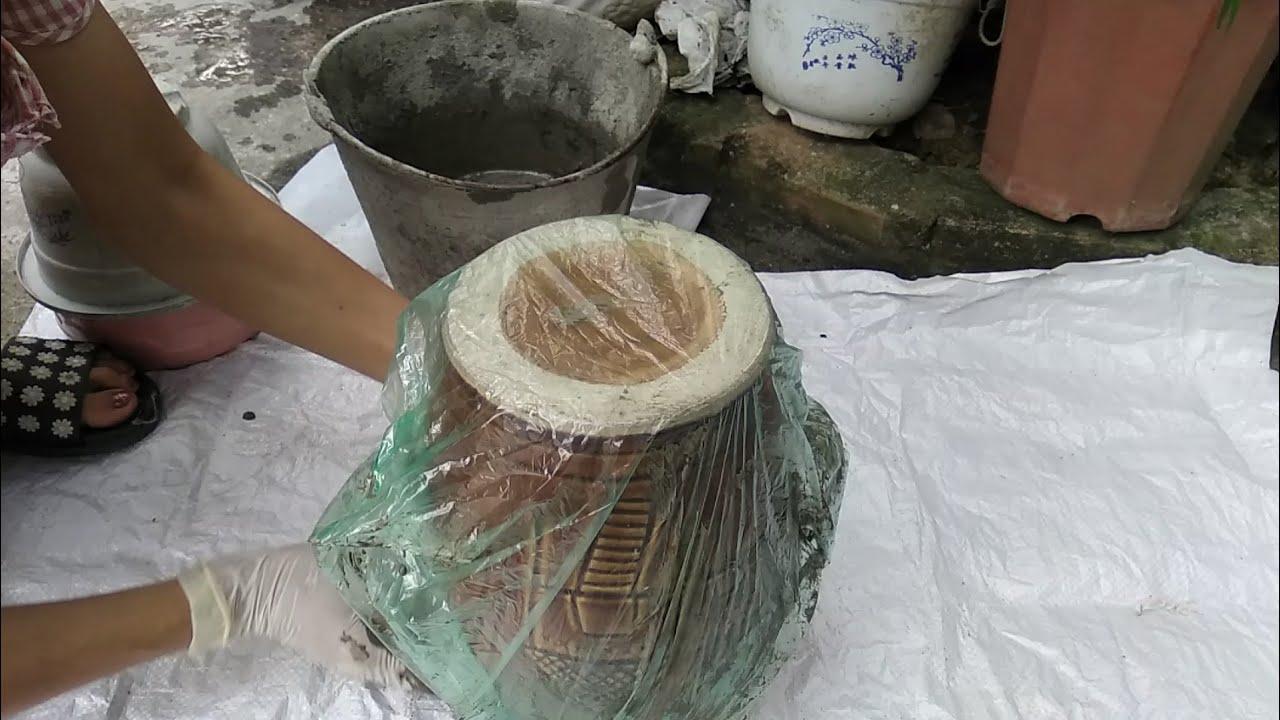 ĐẸP BẤT NGỜ chậu cây làm từ  XI MĂNG và ÁO RÁCH