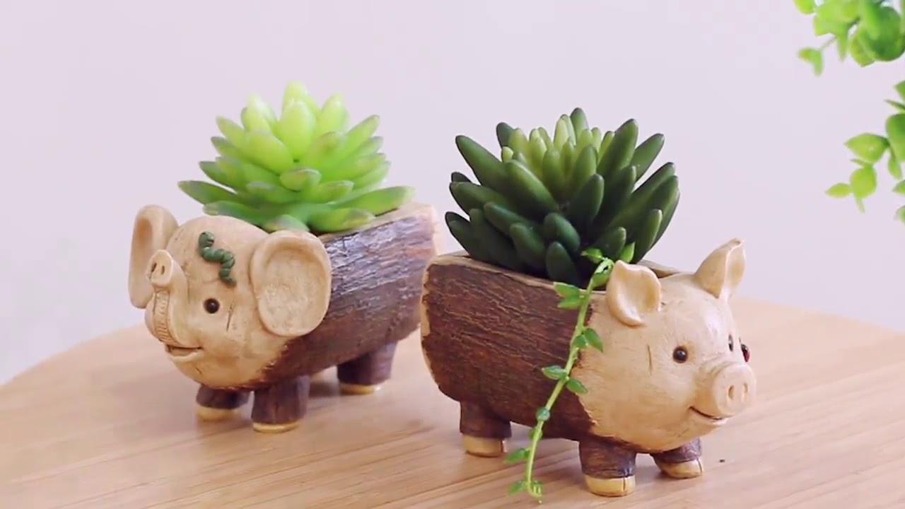 Chậu trồng cây sen đá, chậu trồng cây cảnh - Chậu heo và voi giả gỗ  R7A4B_