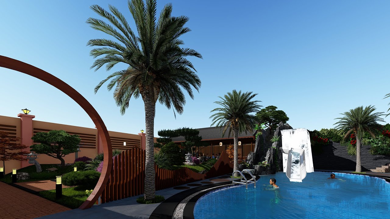 Phối Cảnh 3D Sân Vườn | Thác Nước | Hồ Bơi Cho Anh Trí Ở Quận 6 TP Hồ Chí Minh #2