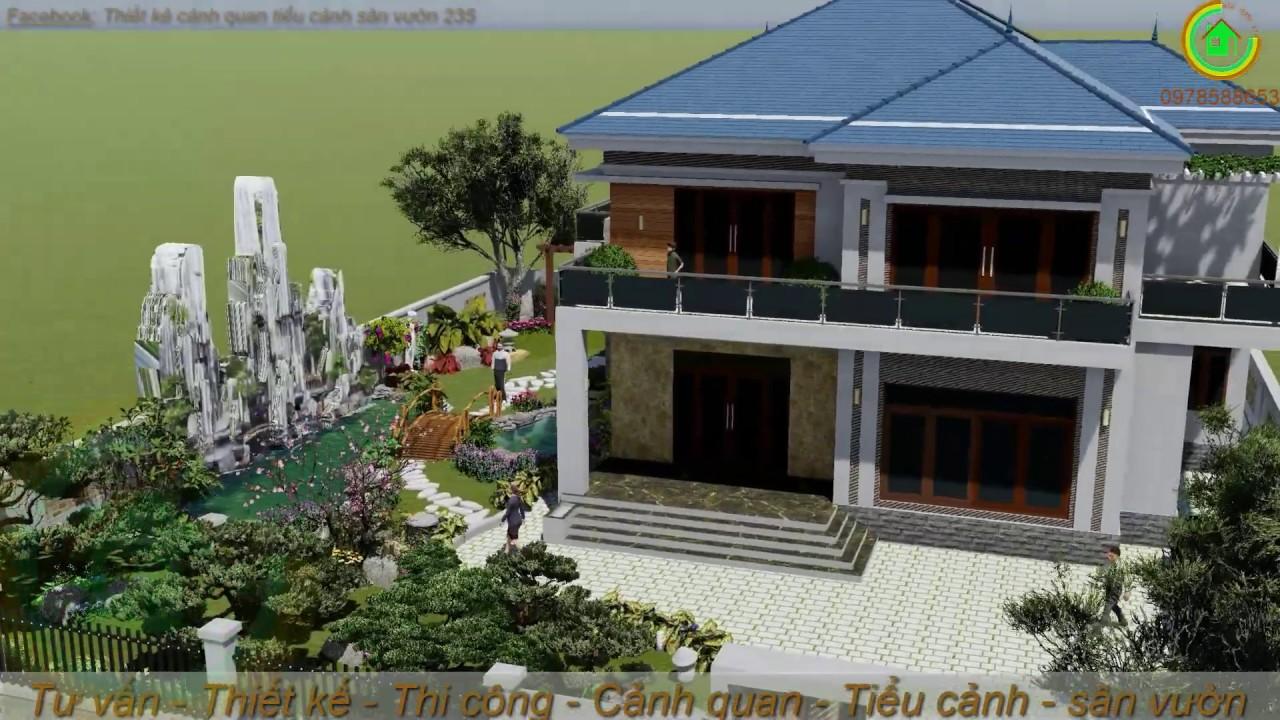 Mẫu thiết kế cảnh quan tiểu cảnh sân vườn cho biệt thự 2 tầng hiện đại - 0978588653