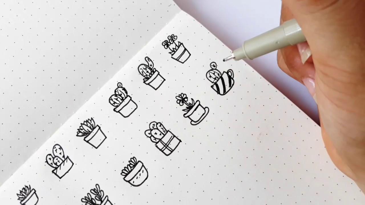 50 ý tưởng vẽ xương rồng | IDEAS DOODLE CACTUS FOR BULLET JOURNAL| BUJO
