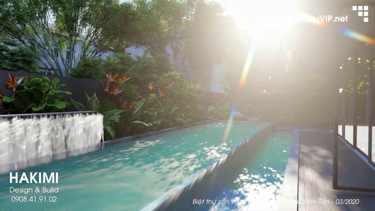 Biệt thự Luxury 20x27m với hồ bơi và sân vườn xanh mát, không gian hiện đại và sang trọng.