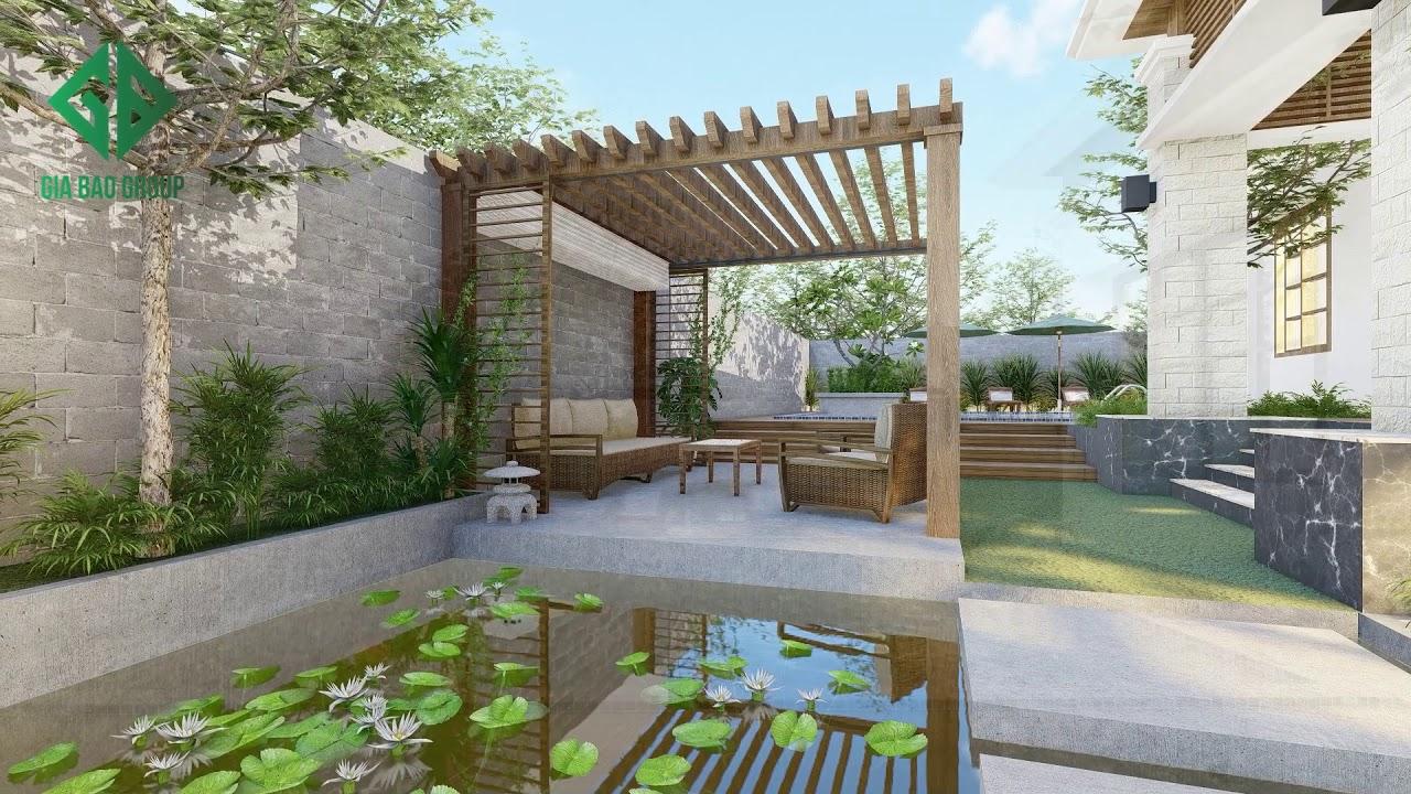 Biệt thự vườn có hồ bơi kèm cảnh quan sân vườn đẹp nhất 2020 Mã BT23