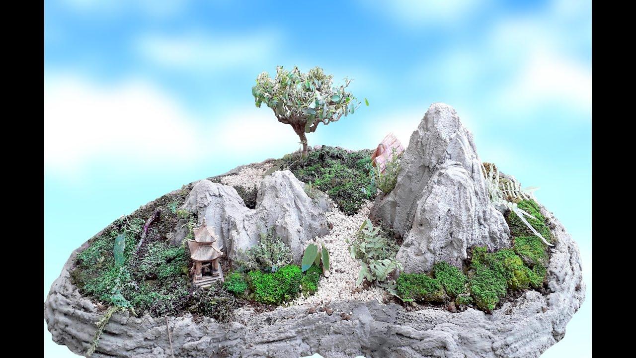Cách làm Tiểu cảnh non bộ - bonsai đơn giản, đẹp - How to make mini scene, penjing - bonsai amazing