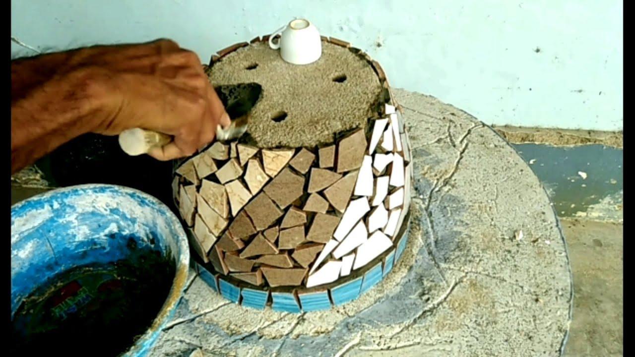 Cách làm mới chậu hoa cũ bằng xi măng và gạch men bể #44