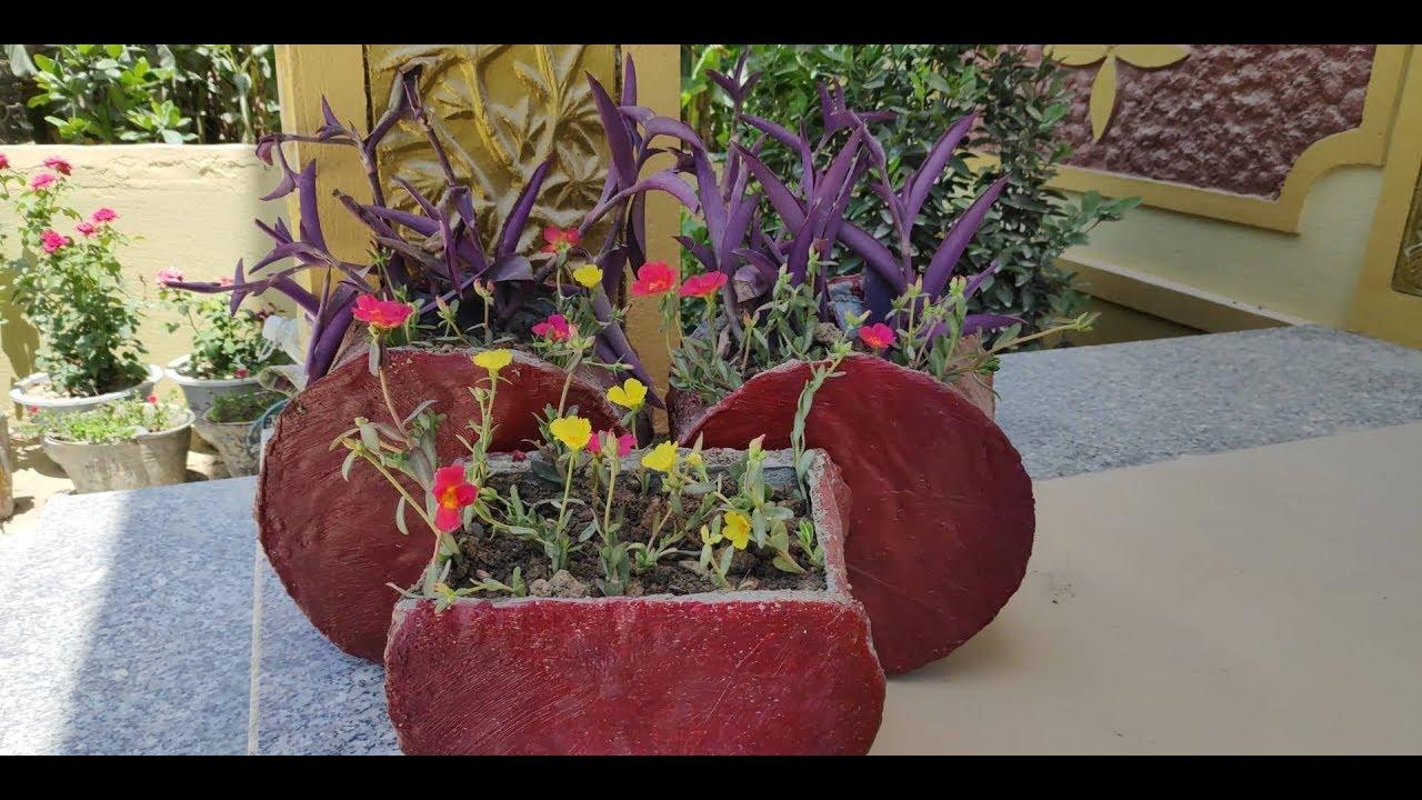 Cách làm chậu cây cảnh,chậu hoa bằng xi măng cực đơn giản!Kênh 5 Phút Sáng Tạo