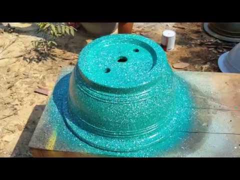 Cách sơn chậu kiểng giả đá màu xanh ngọc lục bảo - Bonsai pot with emerald-like paint