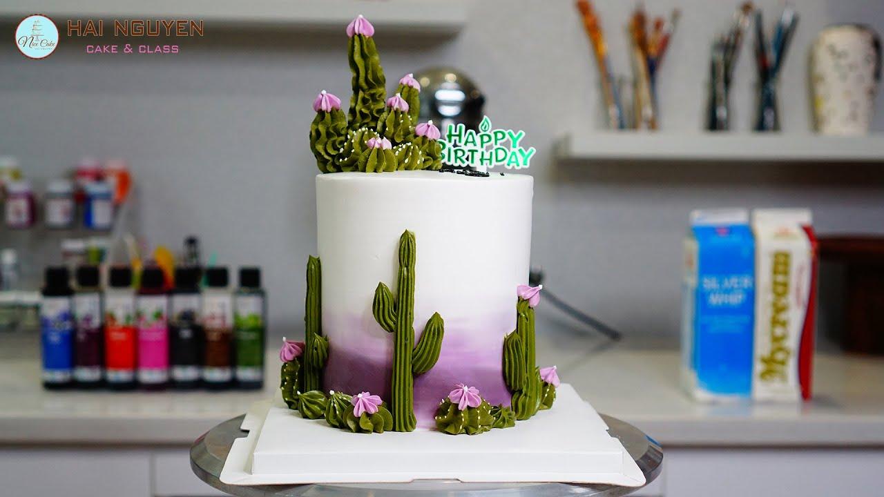 Decorating a simple and beautiful cake with cactus | Bánh sinh nhật hoa xương rồng đơn giản mà đẹp