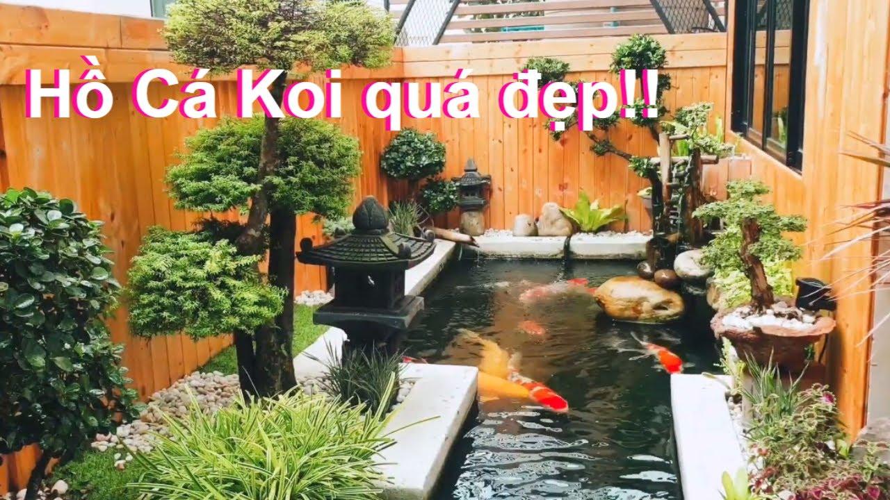 Hồ cá koi sân vườn kiểu Nhật đẹp mê ly