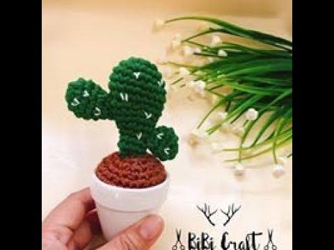 Hướng dẫn  MÓC Xương Rồng Để Chậu ( mẫu 2) | Crochet Cactus | BiBi Craft