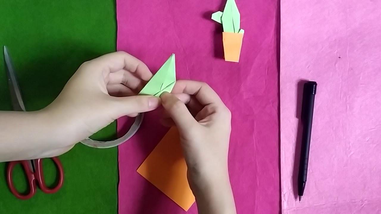 Hướng dẫn gấp chậu cây xương rồng bằng giấy