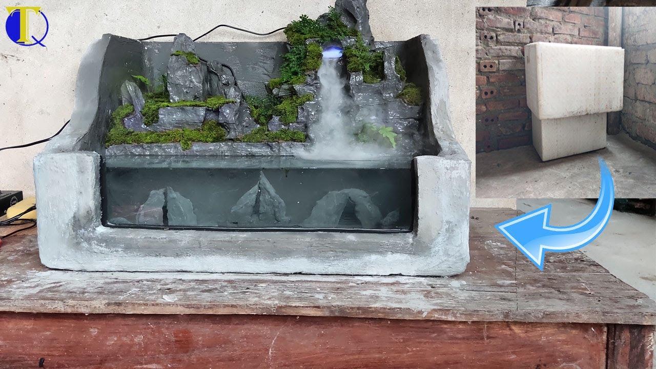 Hướng dẫn làm bể cá cảnh đẹp từ thùng xốp| Tiểu cảnh Thác nước - how to make waterfall