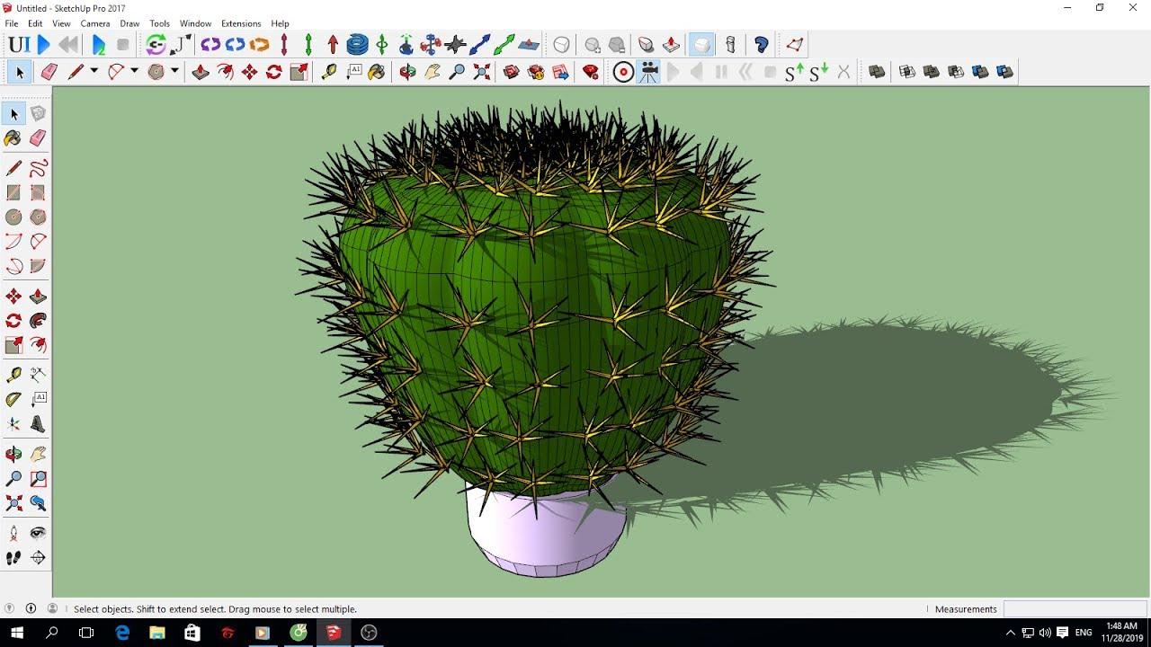Hướng dẫn vẽ mô hình chậu hoa xương rồng gai trong SketchUp