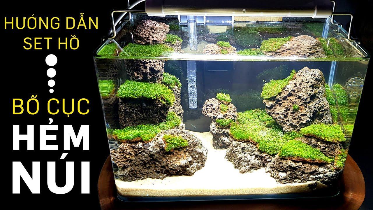 Hồ thủy sinh đẹp với bố cục hẻm núi đá & rêu minifiss - Nano Aquarium Setup Step by Step - Quoidecor