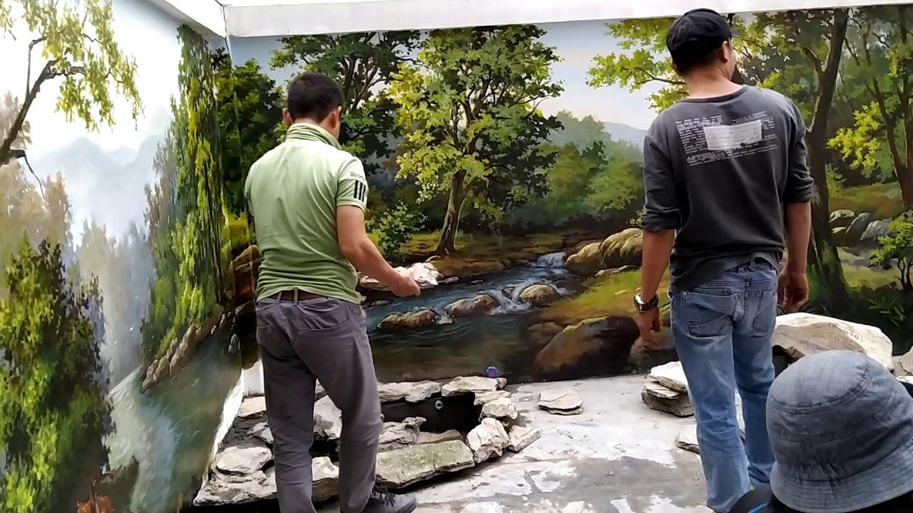 Mẫu tranh phong cảnh và tiểu cảnh non bộ nhà sân vườn
