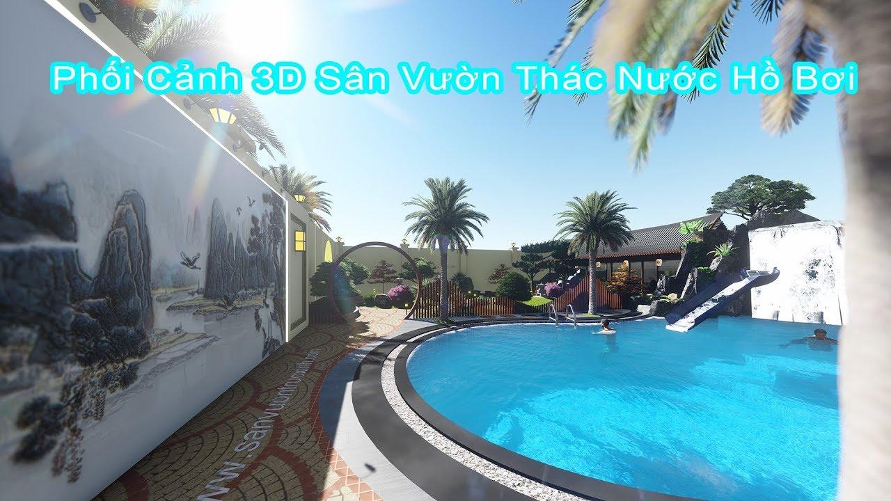 Phối Cảnh 3D Sân Vườn   Thác Nước   Hồ Bơi Cho Anh Trí Ở Quận 6 TP Hồ Chí Minh #1