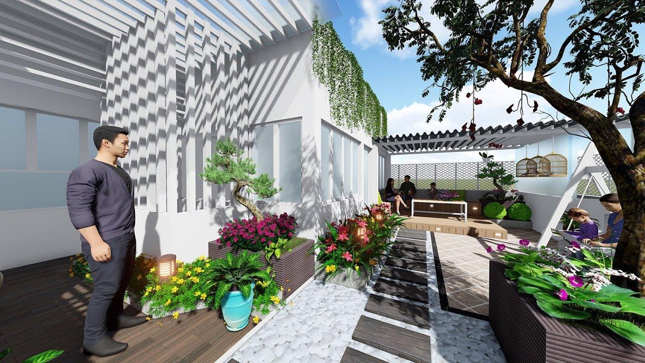 Sân vườn đẹp trên sân thượng nhà biệt thự