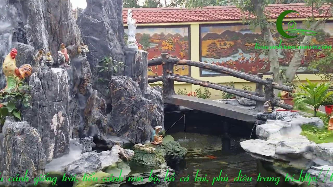 Sân vườn non bộ hồ cá koi biệt thự Hải Dương