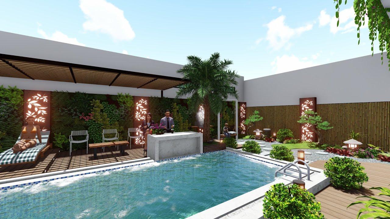 Sân vườn phong cách Zen và hồ bơi sau nhà biệt thự Anh Hải  Trà Vinh