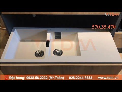 TDM.VN   Review chậu rửa chén đá Hafele HS-GDD11650 570.35.470 2 hộc 1 cánh màu kem chính hãng