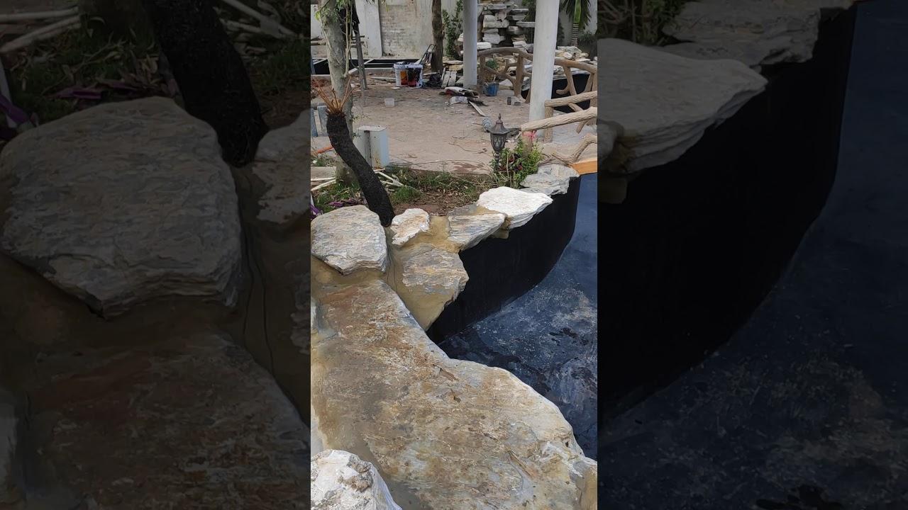Thác cổ thạch - Hồ cá koi - tiểu cảnh sân vườn: 0845666626