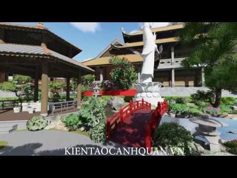 Thiết kế cảnh quan khu tâm linh - Sân vườn chùa phong cách vườn Nhật.