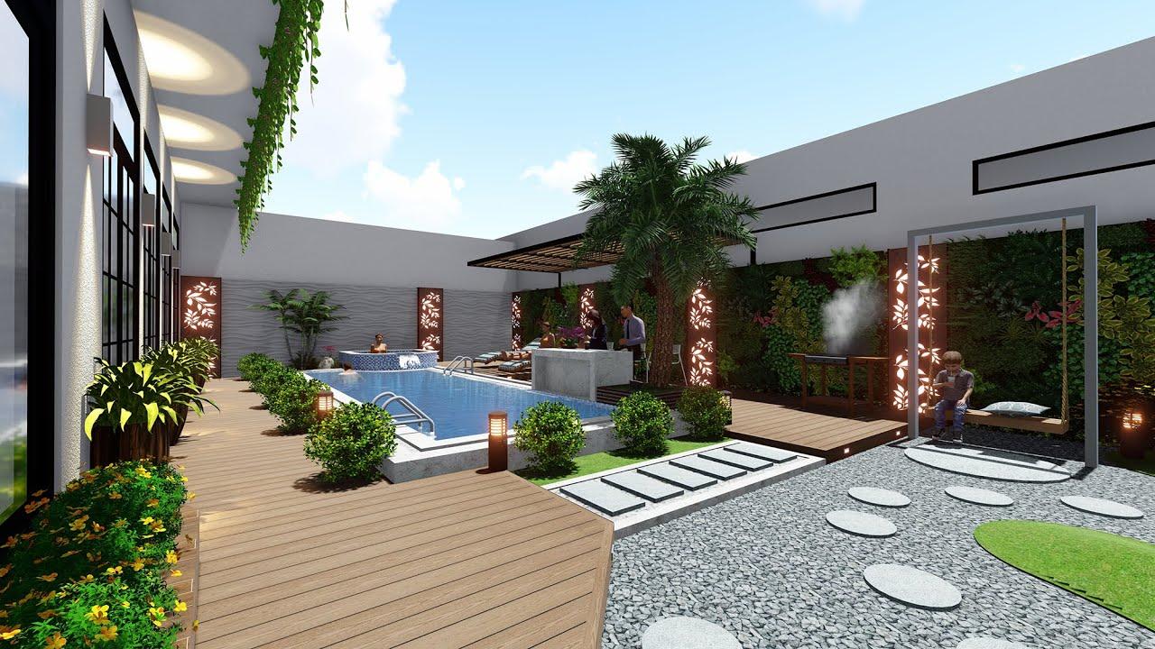 Thiết kế sân vườn biệt thự hồ bơi đẹp sau nhà Anh Hải Trà Vinh