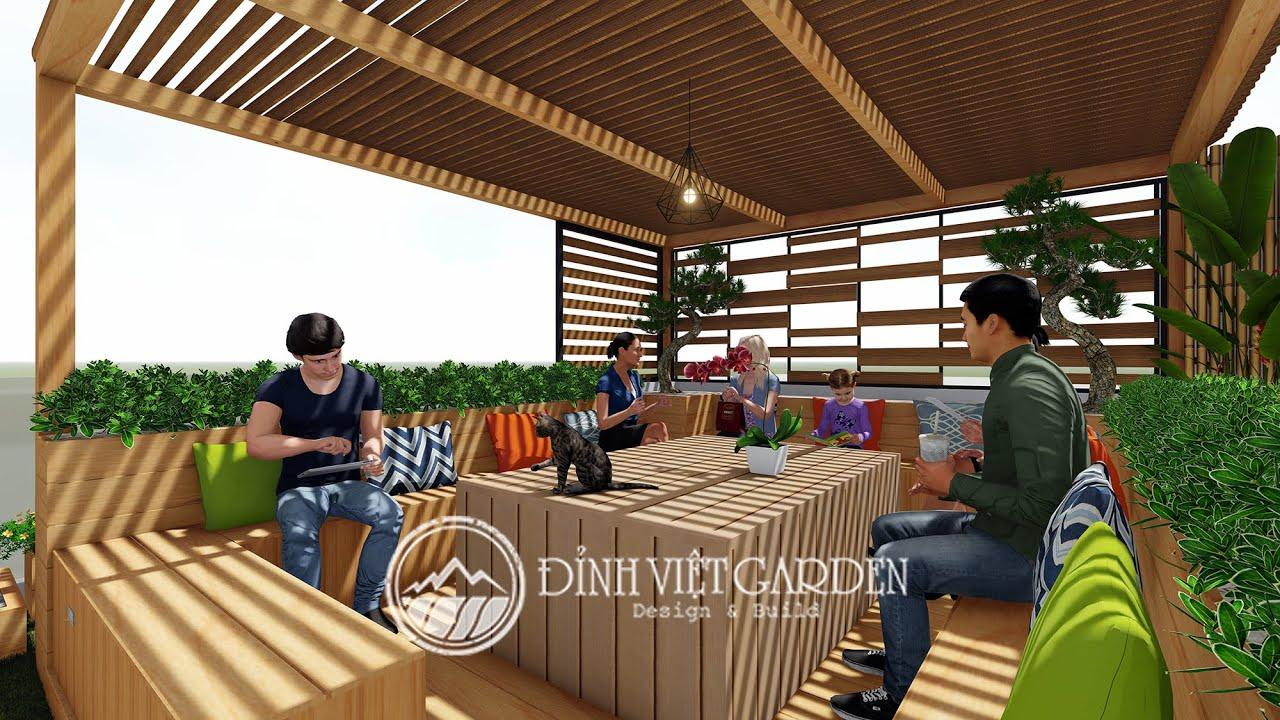 Thiết kế vườn trên sân thượng nhà biệt thự đẹp tại Gò Vấp- Garden on the roof of a beautiful villa