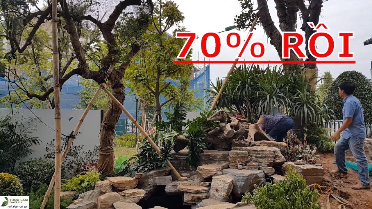 Thi công trồng cây trang trí sân vườn hồ cá Koi biệt thự Gamuda ngày 31.10.2019