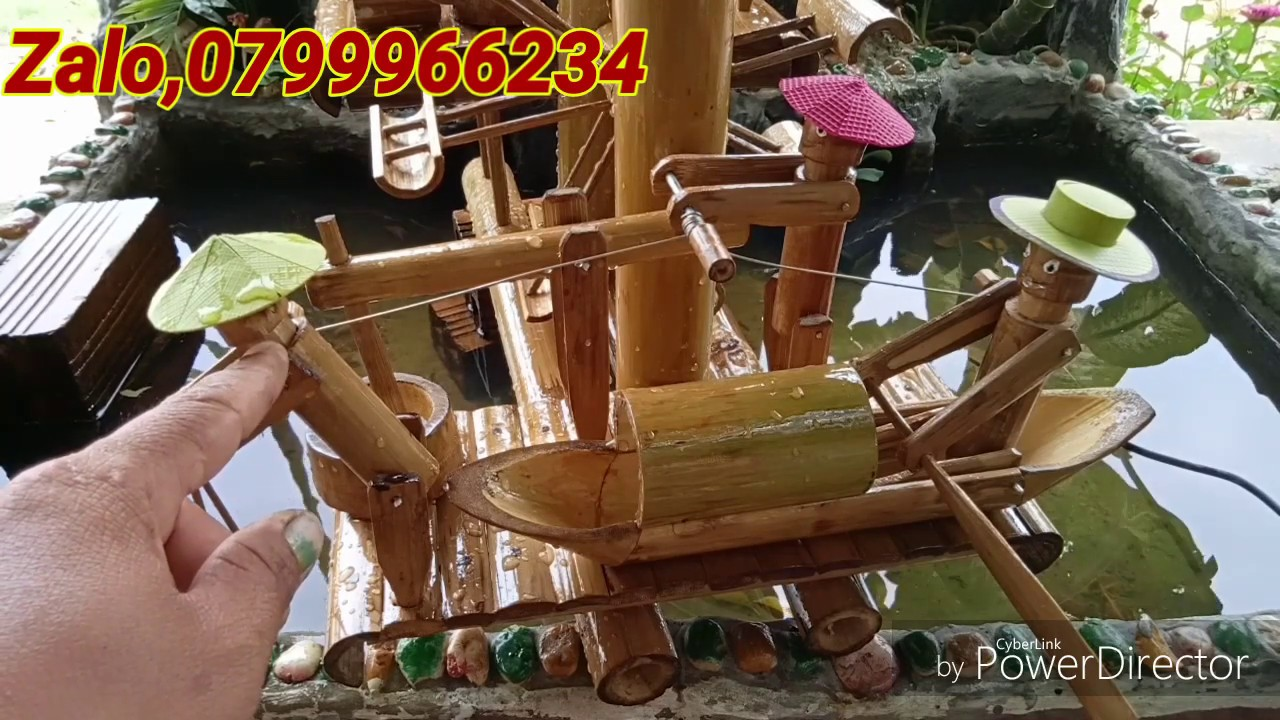 Tiểu cảnh ống tre, chèo thuyền xay bột,nom cá giã gạo,tiểu cảnh ống nhựa bamboo