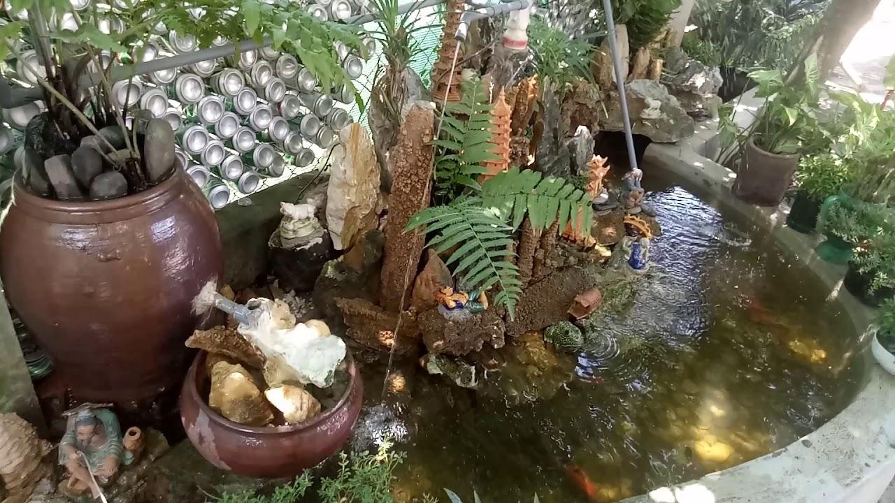 Tiểu cảnh sân vườn hồ cá koi nhà nghèo mỏ đá Tam Đình
