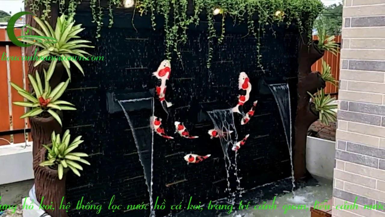 Tiểu cảnh thác nước cá koi - Thi công tiểu cảnh thác nước nhà đẹp
