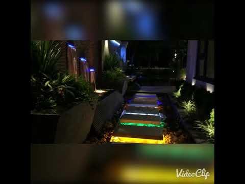 Trang trí ánh sáng sân vườn tiểu cảnh ban đêm