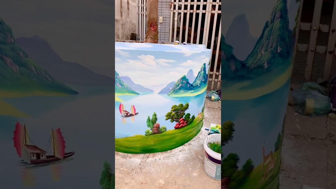Trang trí chậu cây cảnh bằng tranh vẽ 3d sơn thuỷ hữu tình 0966018586