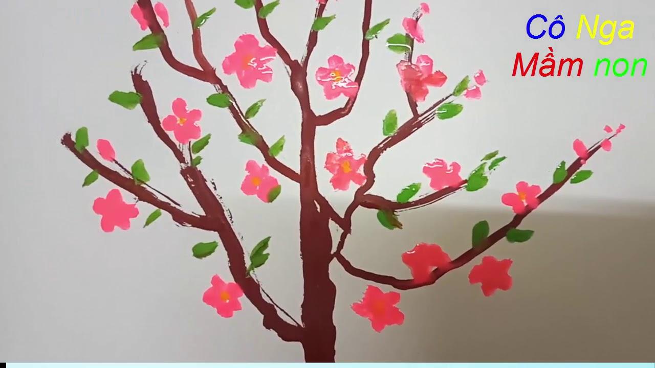 Vẽ chậu hoa đào -  VE CHAU HOA DAO - cách vẽ cây hoa anh đào đơn giản