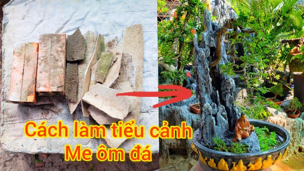 cách làm tiểu cảnh me ôm đá / Bonsai works made from discarded materials
