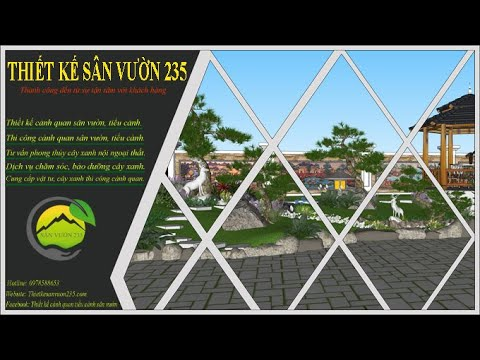 Mẫu thiết kế cảnh quan tiểu cảnh sân vườn cho biệt thự 2 tầng tân cổ điển - 0978588653