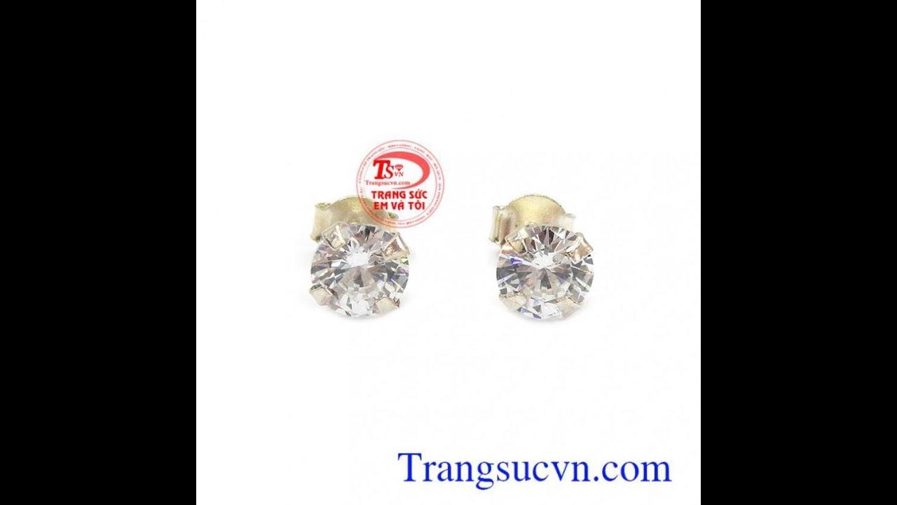 Bông tai gắn đá kim cương nhân tạo, bông tai, hoa tai nữ đẹp, TSVN006988