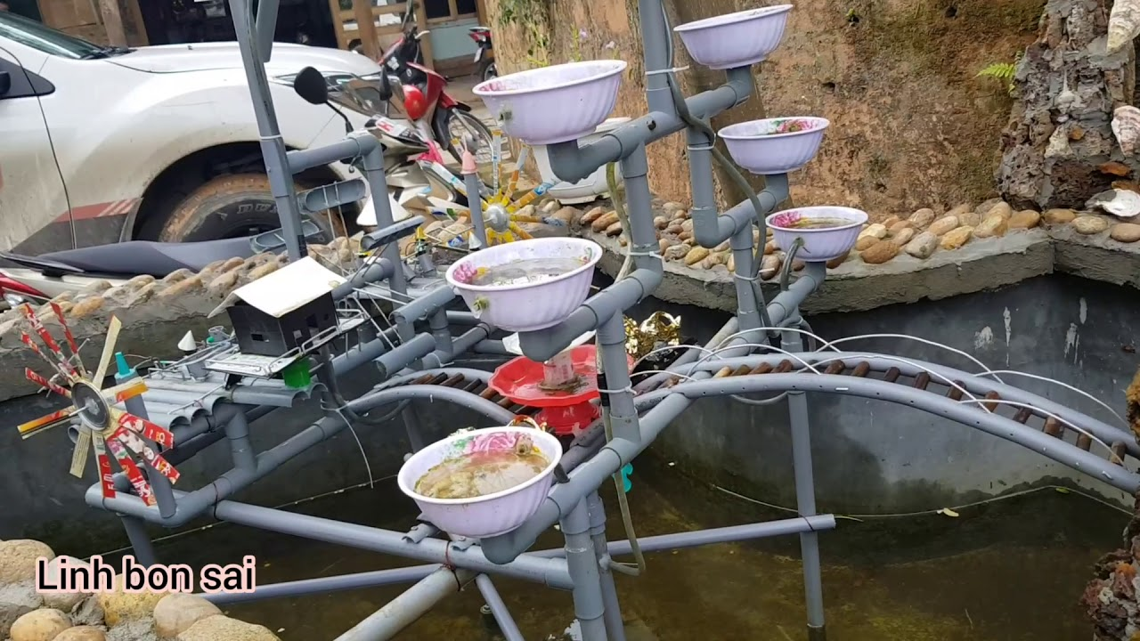 Non bộ tiểu cảnh cối xay gió làm bằng ống nhựa   Linh Bon Sai