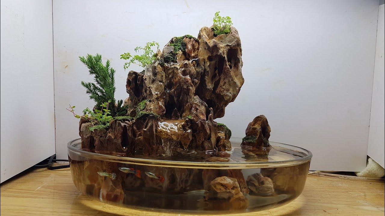 Tiểu cảnh non bộ mini đá tiger để bàn - 35x27x27. Mini penjing with waterfall-dragon rock-new setup.