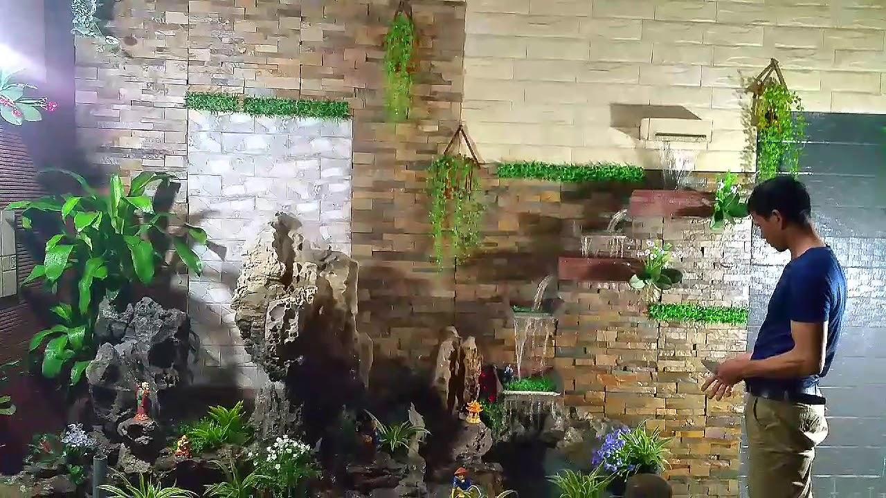 Tiểu cảnh tường hợp phong thủy, non bộ thác nước đẹp cho không gian nhà ở