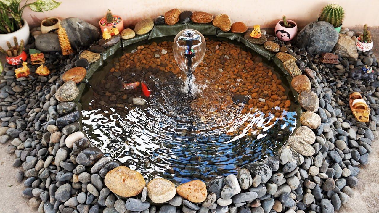 Yin and Yang Goldfish Pond With Waterfall | Hồ Cá Vàng Âm Dương Với Đài Phun Nước. Part 1.