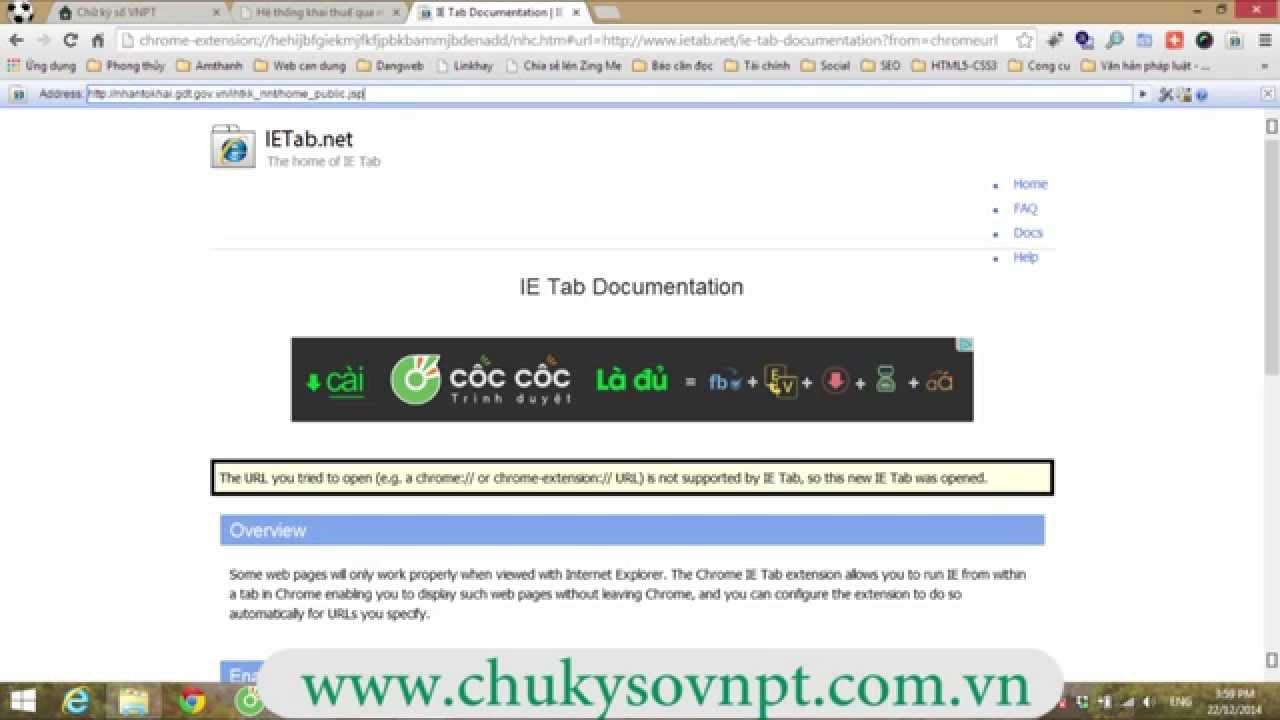 Cách Dùng trình duyệt Chrome khai báo thuế qua mạng bằng chữ ký số