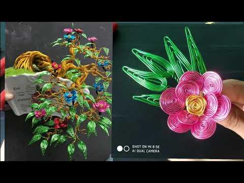 Hướng dẫn cách làm lá,làm hoa bonsai dây đồng.làm hoa bonsai handmade.