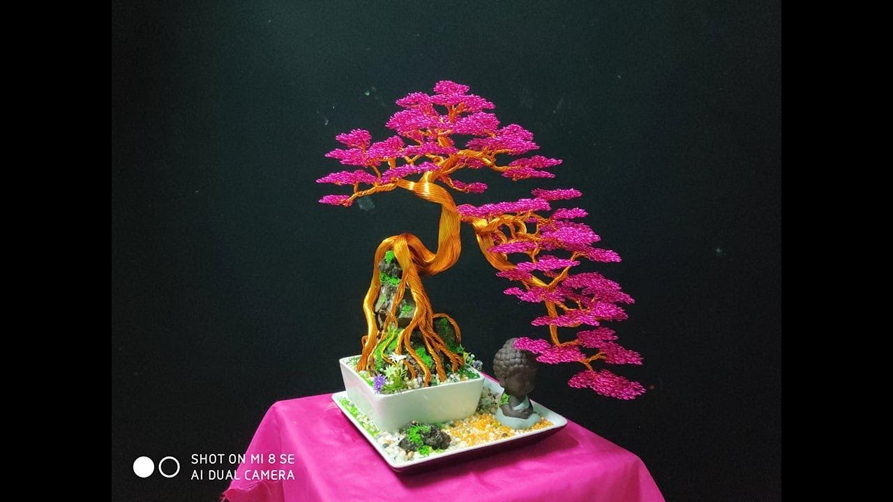 Hướng dẫn làm Bonsai dây đồng chi tiết, bonsai handmade. dây nhôm.Cách làm cây bằng dây đồng.