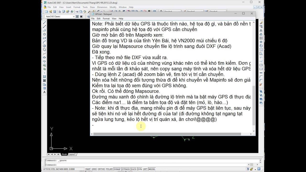 Thủ thuật Mapinfo: chuyển giữ liệu từ GPS vào Mapinfo.P2