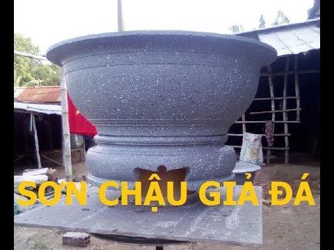 Hướng Dẫn Sơn Giả Đá Cho Chậu Xi Măng - Sơn Chậu Cảnh, Chậu Kiểng Giả Đá