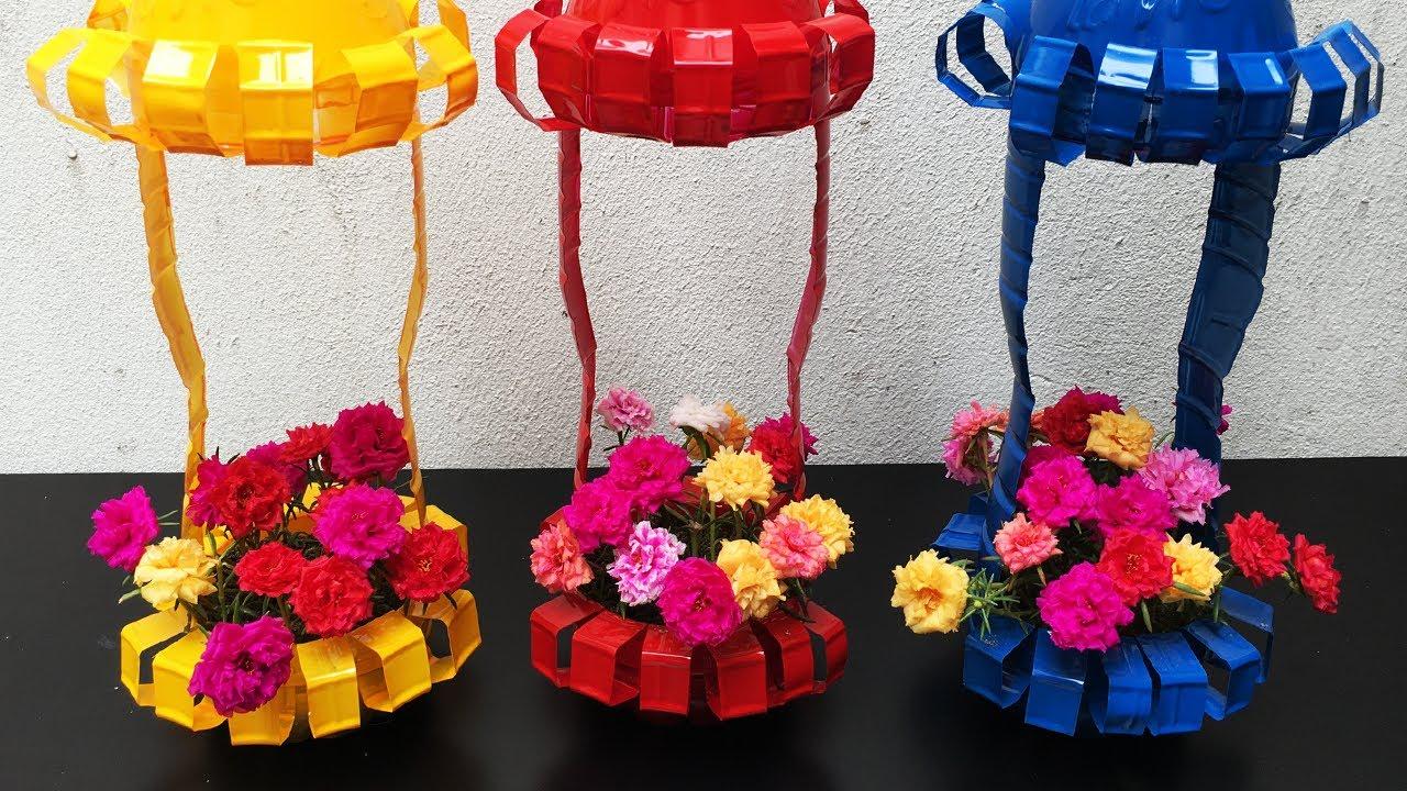 Tái chế chai nhựa làm chậu hoa trồng hoa 10 giờ rực rỡ sắc màu