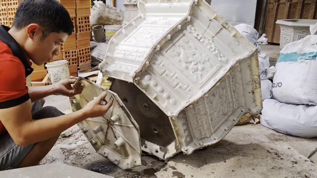 Khuôn Chậu Cảnh ABS Công CNC Mẫu Mới Nhất Năm 2021 - Khuôn Chậu Bát Giác Có Chân Kỷ
